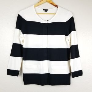 Ann Taylor - Snap Front Stripe Sweater [Pockets]